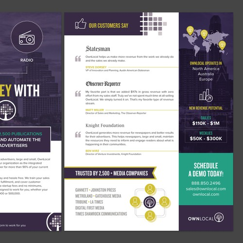 Create beautiful, compelling sales sheet for startup tech company in Austin, TX