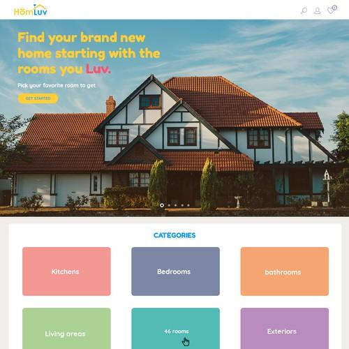 Fresh, feminine, interactive homepage for HomLuv.com