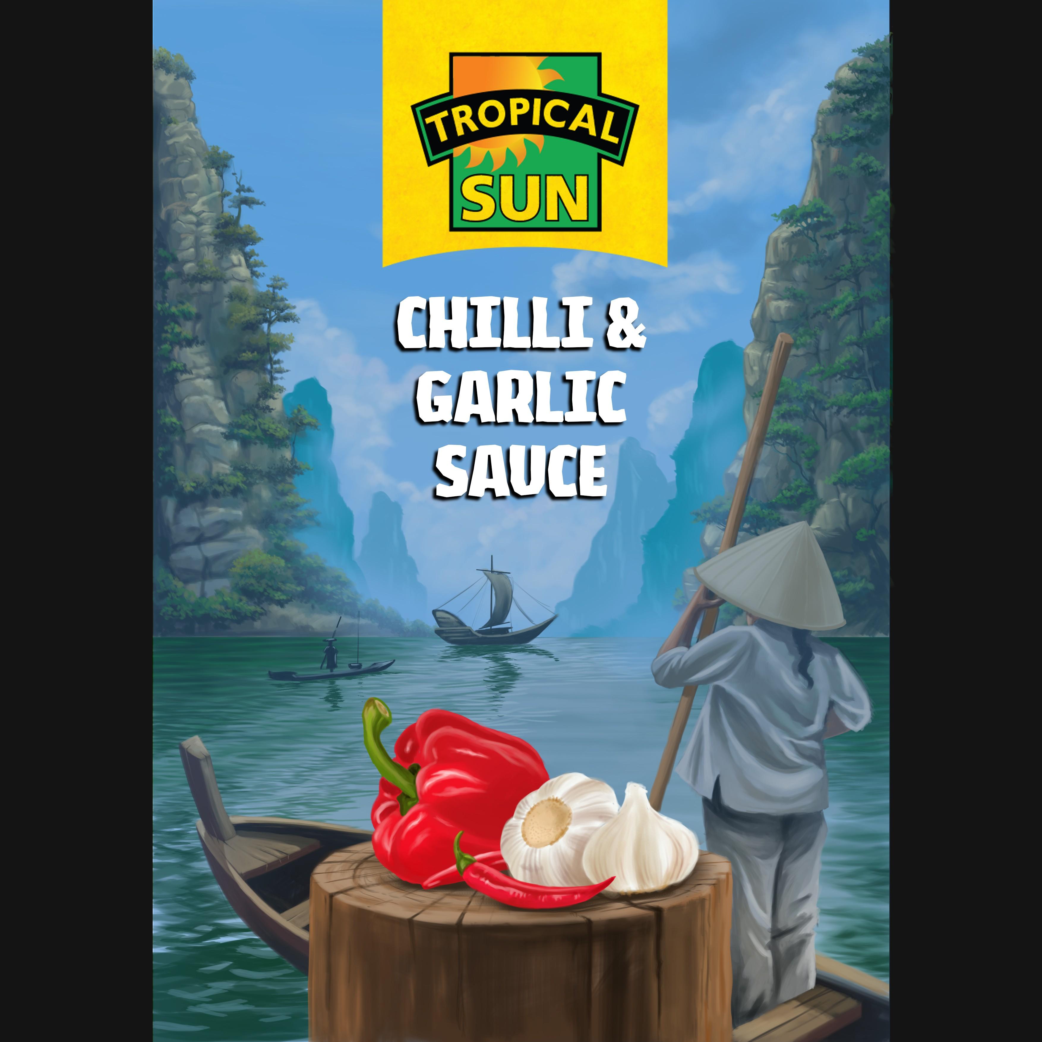 Tropical Sun Chilli & Garlic Sauce Label Digital Painting