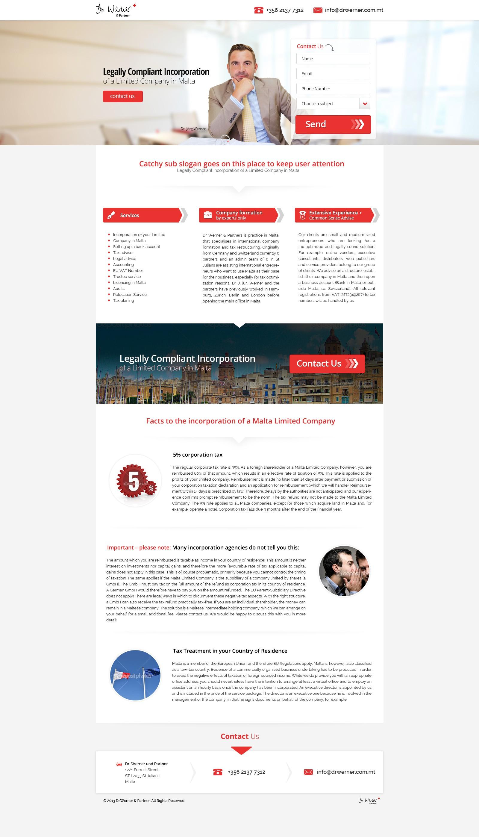 landing page für Dr.Werner & Partner