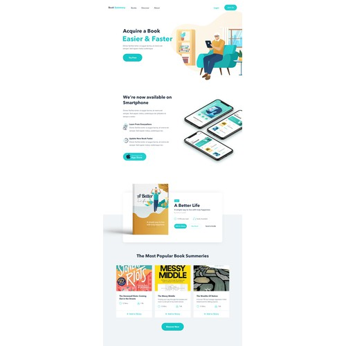 Landing page concept for Book summary mobile app