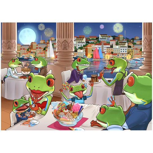 Frog Dinner Illustration