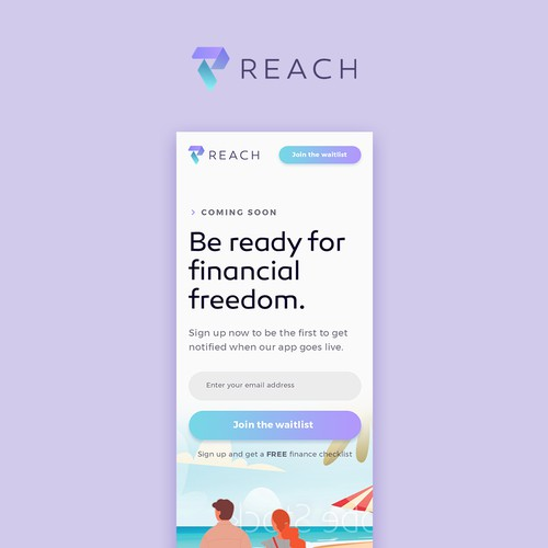 Mobile-first landing page design for a new money management app