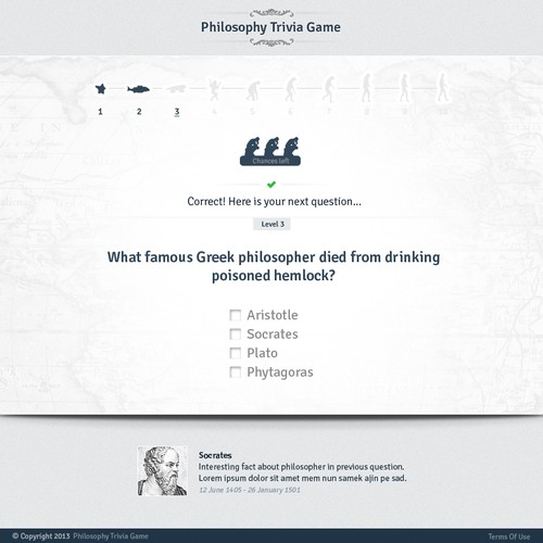 Website Design: Philosophy Trivia Game