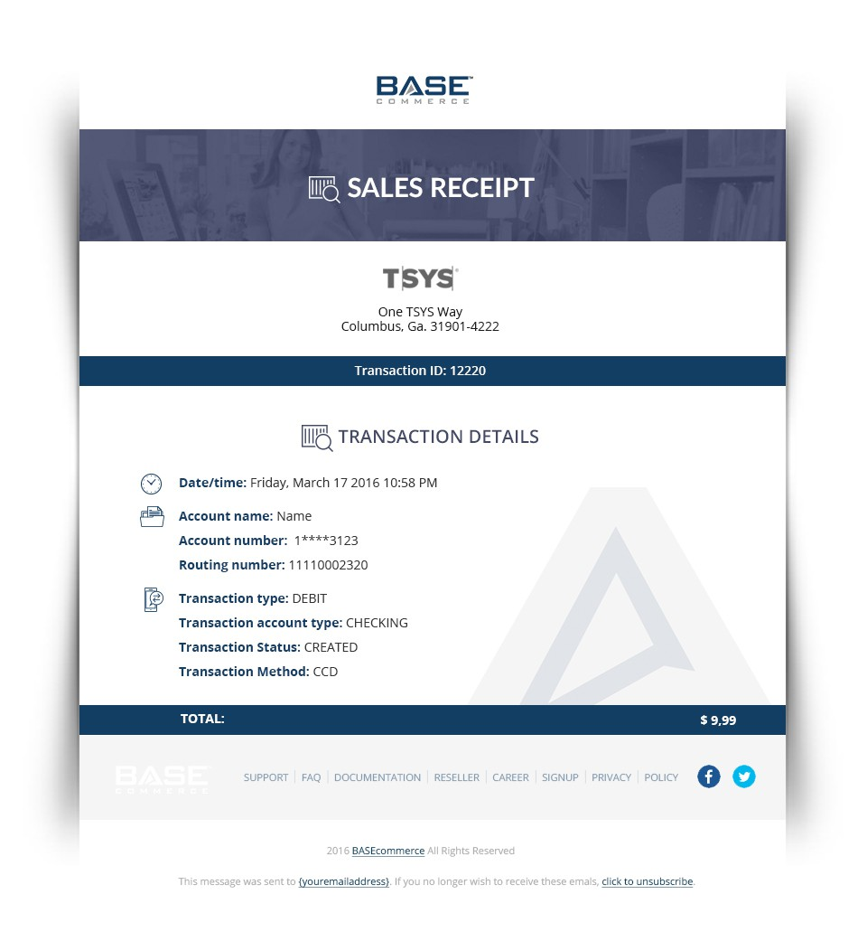 Style a simple and sleek sales receipt design for Base Commerce