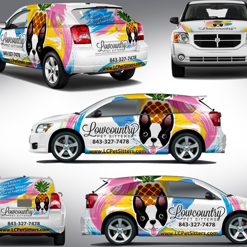 Design a creative and exciting full car wrap for our pet care company, Lowcountry Pet Sitters!