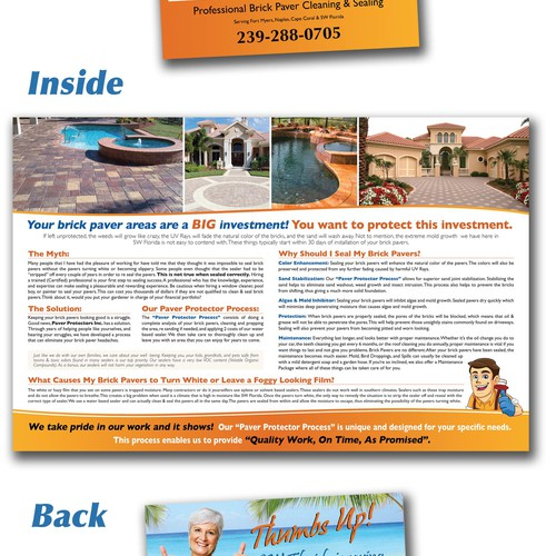 Create the next brochure design for Paver Protectors Inc.