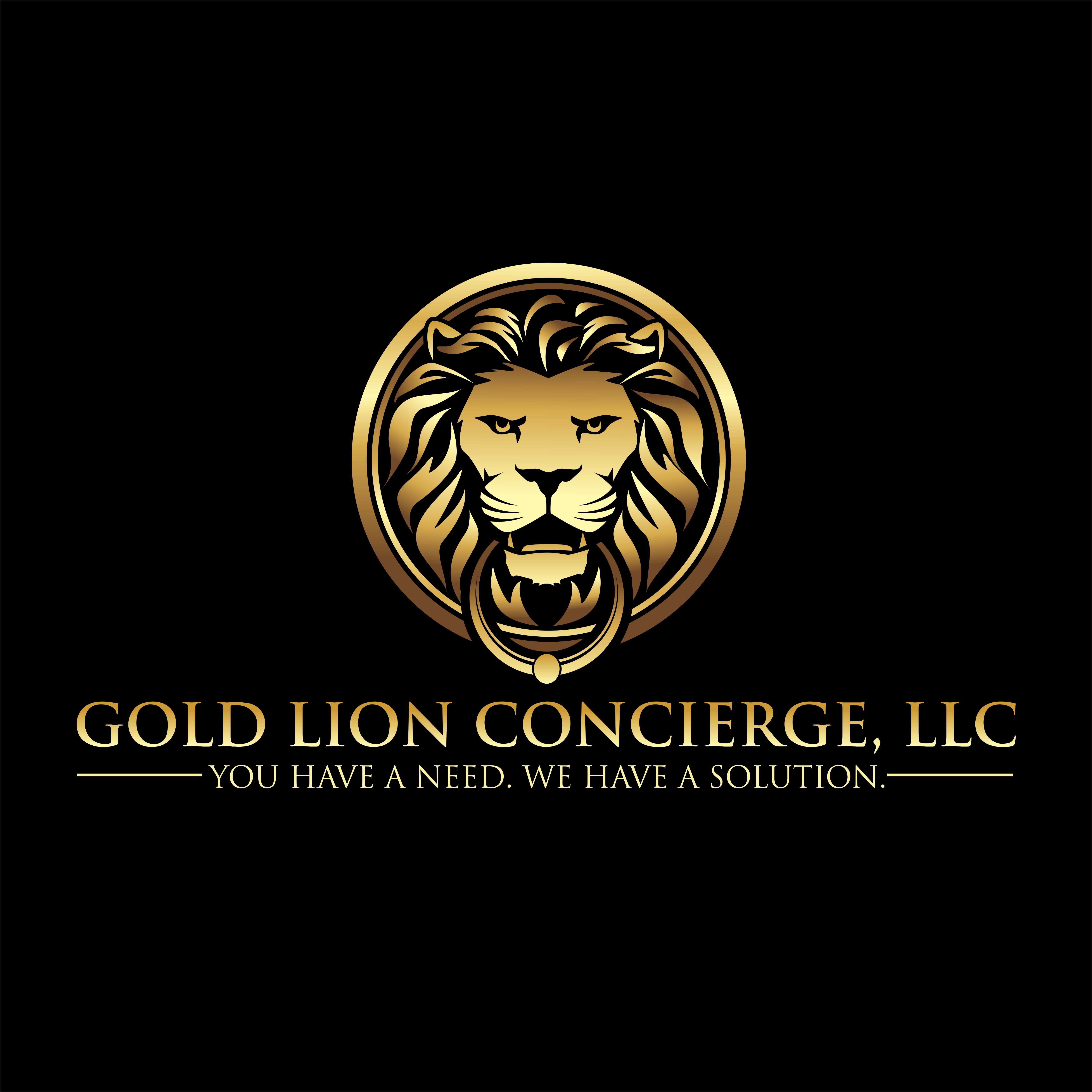 create an innovative gold lion door knocker logo for gold lion concierge, LLC