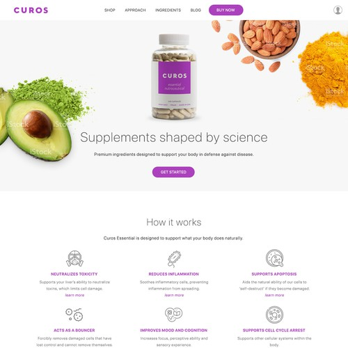Bright, clean design for a supplements company