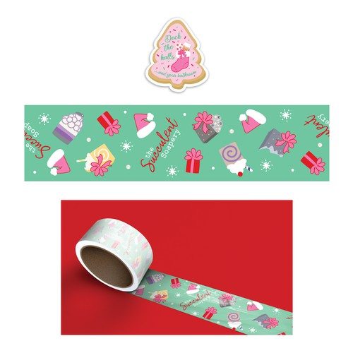 Christmas tape and sticker for The Succulent Soapery