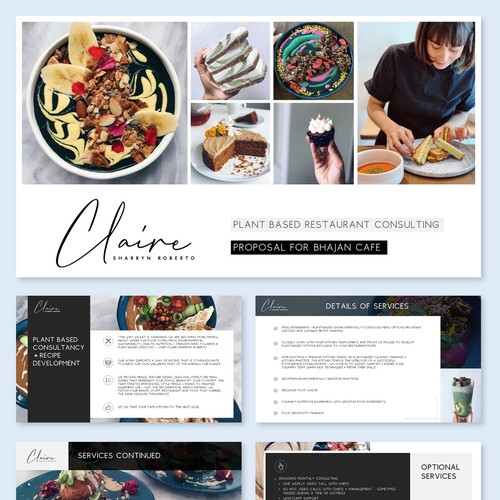Design an arty and creative plant-based restaurant consulting presentation