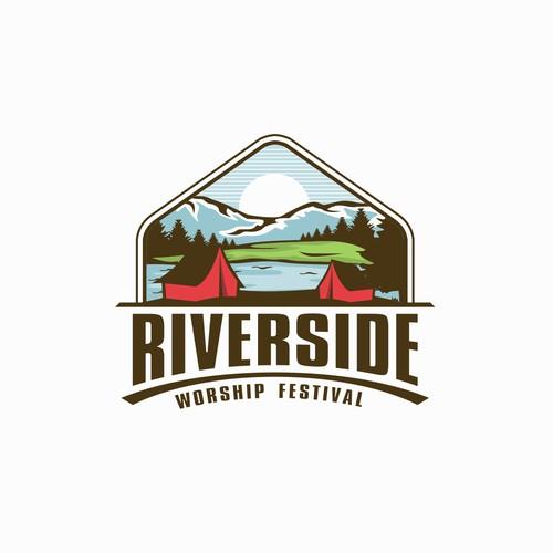 Design a campy logo for Riverside Worship Festival