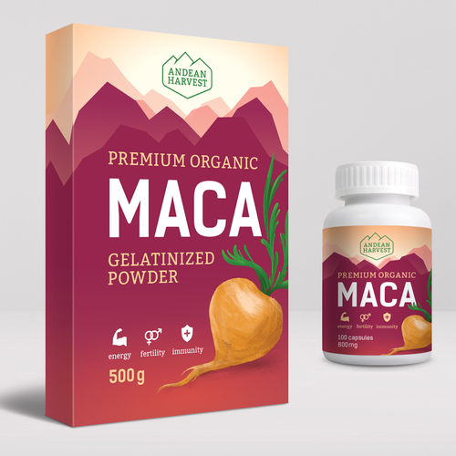 Maca roots powder packaging concept