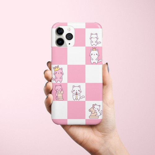 Phone case design with kawaii chess