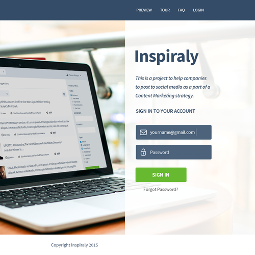 Create a modern design to a new Content Marketing Tool
