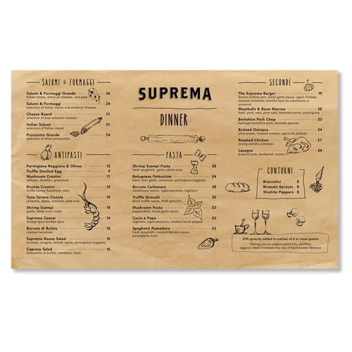 Menu design for a NYC restaurant