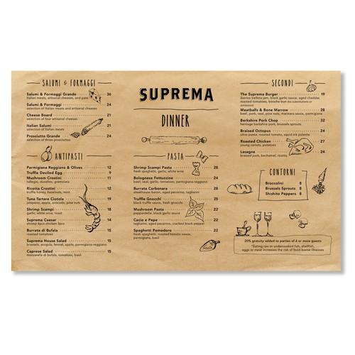 Menu design for a NYC restaurant