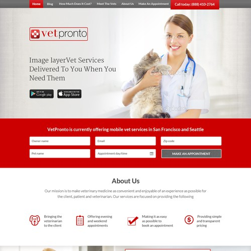 Create traditional meets modern website for VetPronto - Mobile Veterinarians
