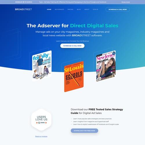 Website design concept for an ad-management website