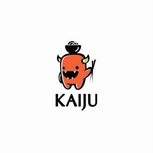 Cute monster mascot for asian restaurant