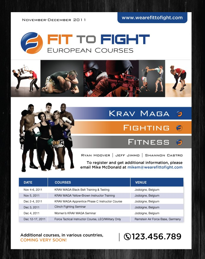 Create the next print or packaging design for Fit to Fight