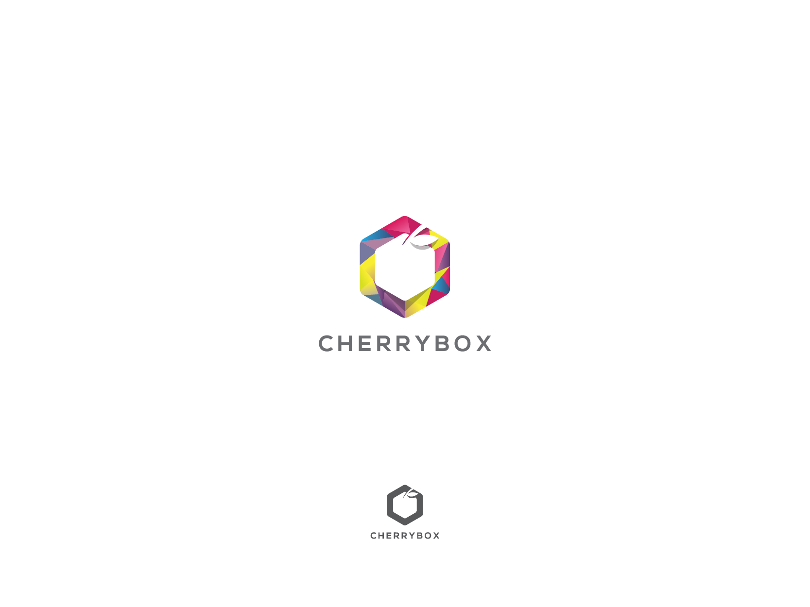 "Modern LOW POLY or FLAT logo for ""CHERRYBOX"" (www.cherrybox.club)"