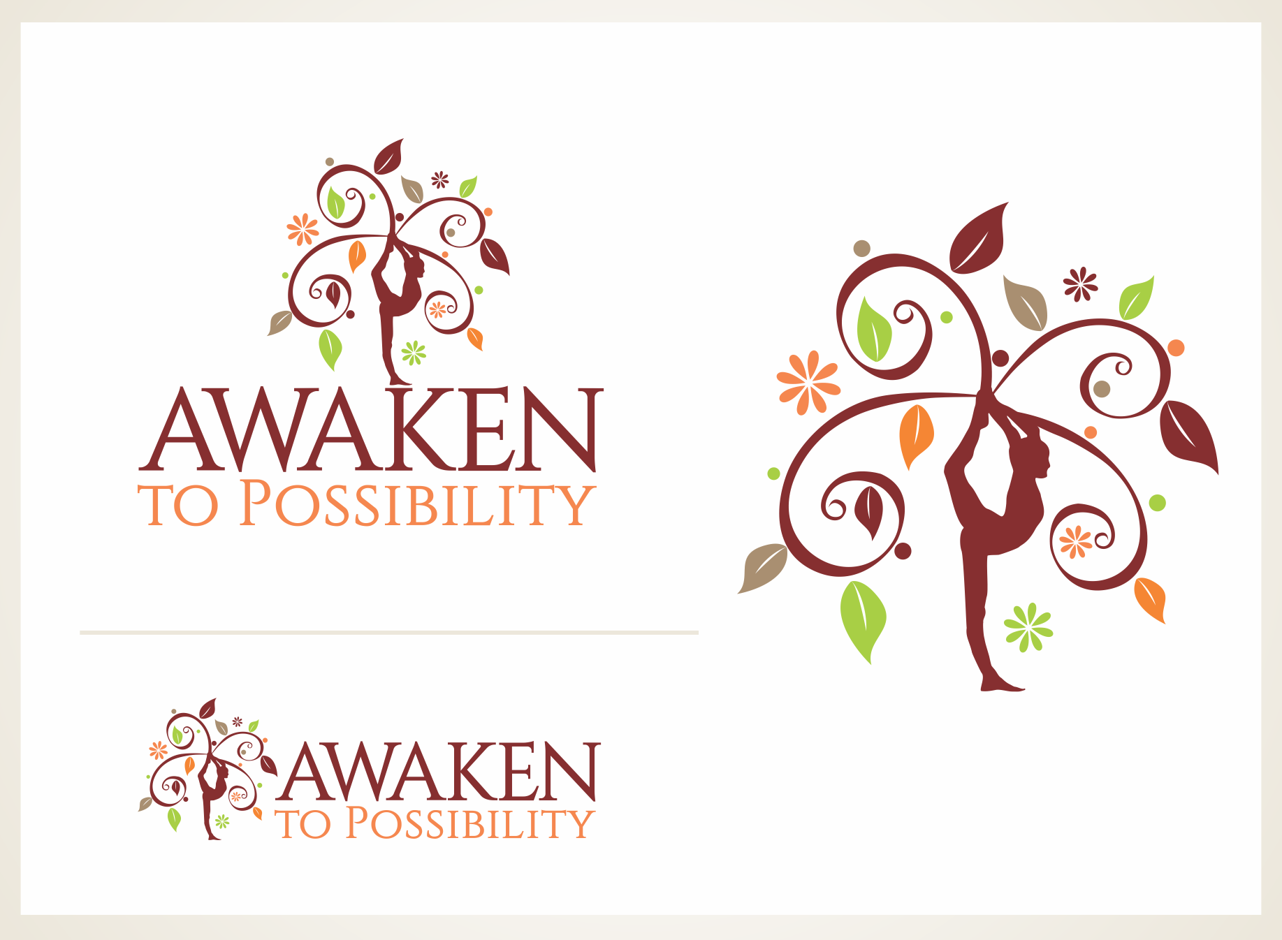 Create a logo conveying yoga, wellness and radiance.