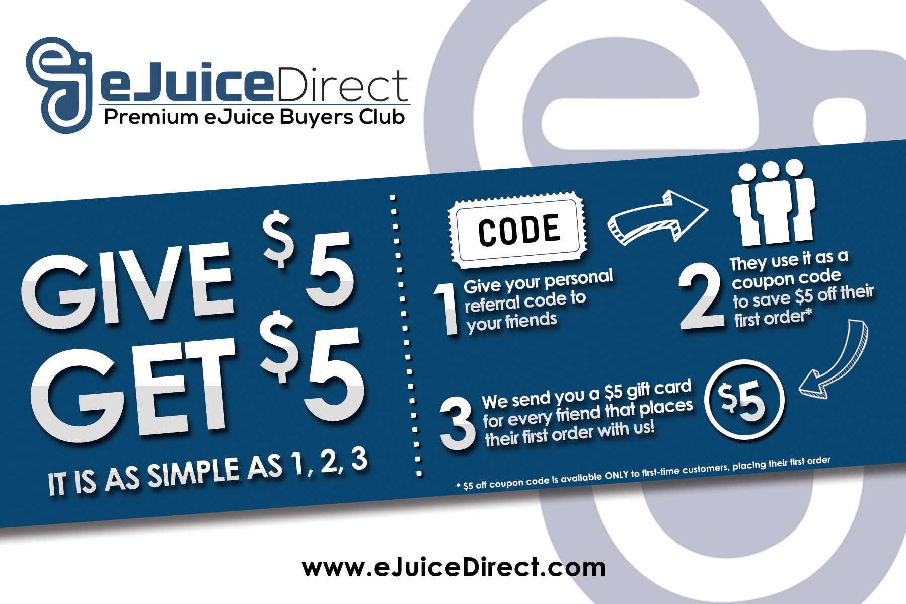 Create a referral program, marketing insert for eJuiceDirect