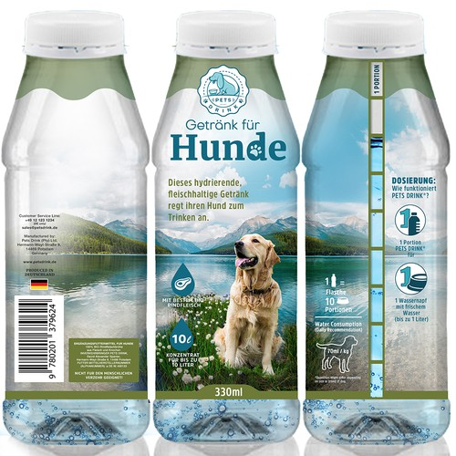 Packaging design for Pets Drink, an innovative product encouraging your pets to drink more water.