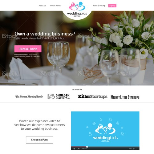 Landing page for wedding service marketplace.