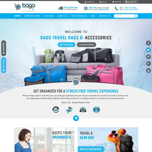 Bago Travel Bags Website Redesign