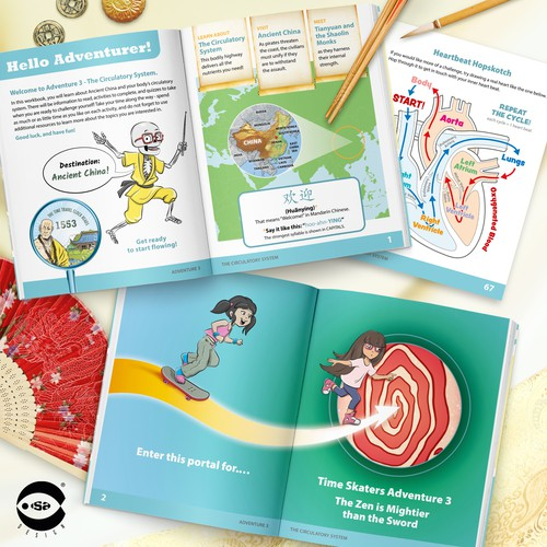 Interior book design and illustrations for Adventure 3 - The Circulatory System by Know Yourself PBC