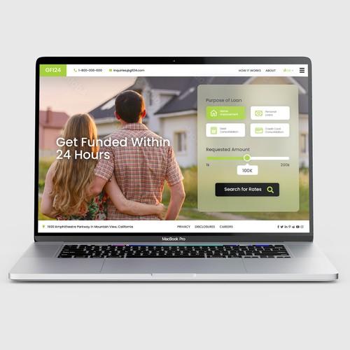Lending platform lading page design