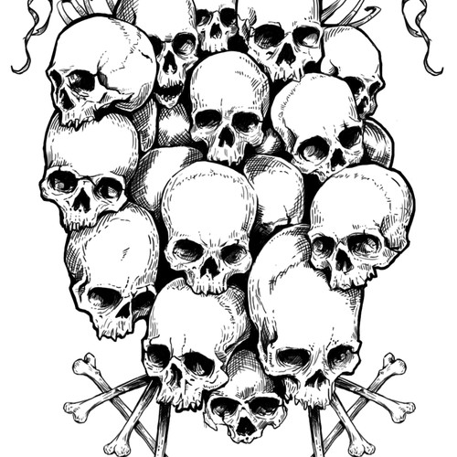 Skull pile illustration