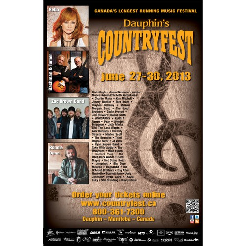 Concert Poster for Dauphin's Countryfest