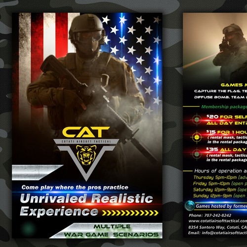 postcard or flyer for Cotati Airsoft Tactical