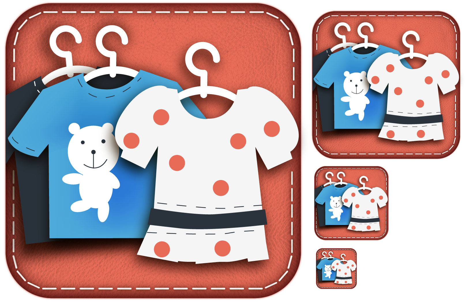 Cute iPad icons for Kids + Clothes + Shopping app