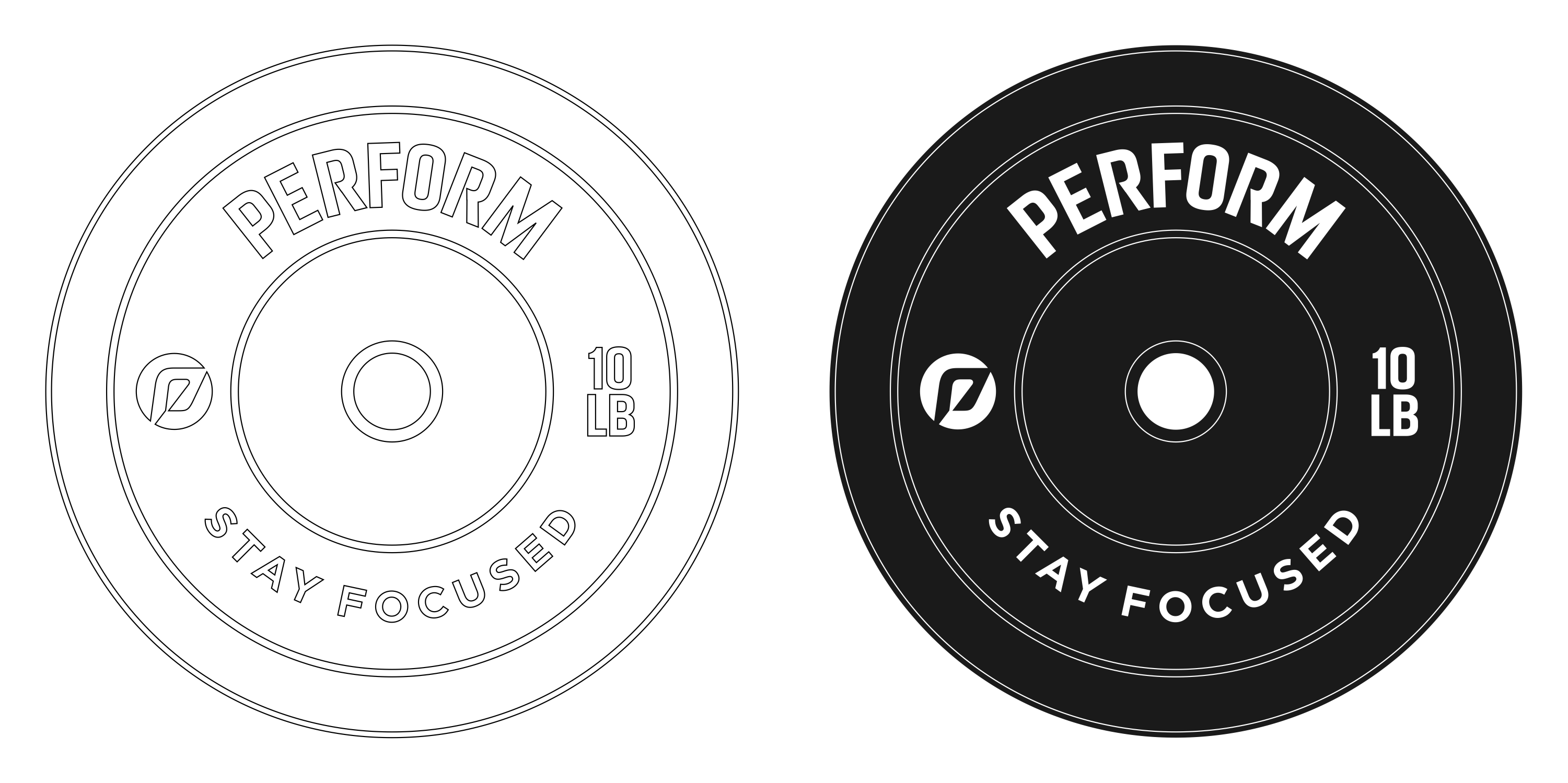 Logo on weightlifting plate