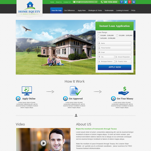 Create a winning home page for Home Equity Solutions