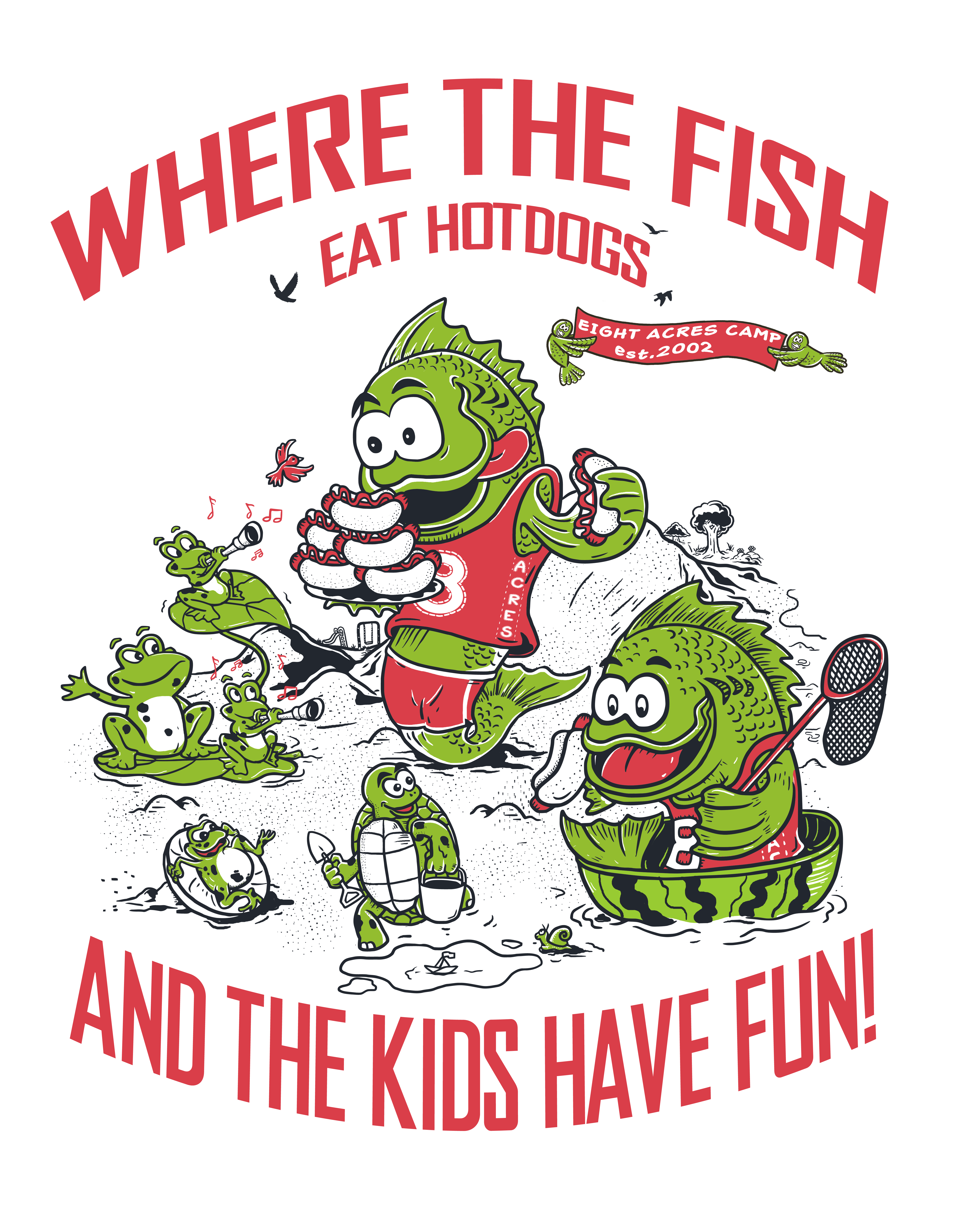 Eight Acres Camp needs a FUN 20 year anniversary t-shirt!