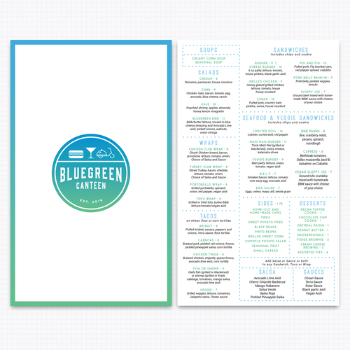 Double Sided Menu for Bluegreen Canteen