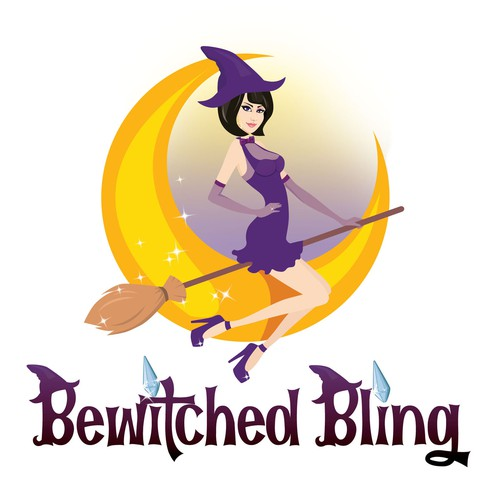 Fun logo with gorgeous witch