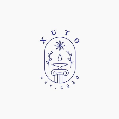Logo design for a cafe and flower shop inspired by Greek culture