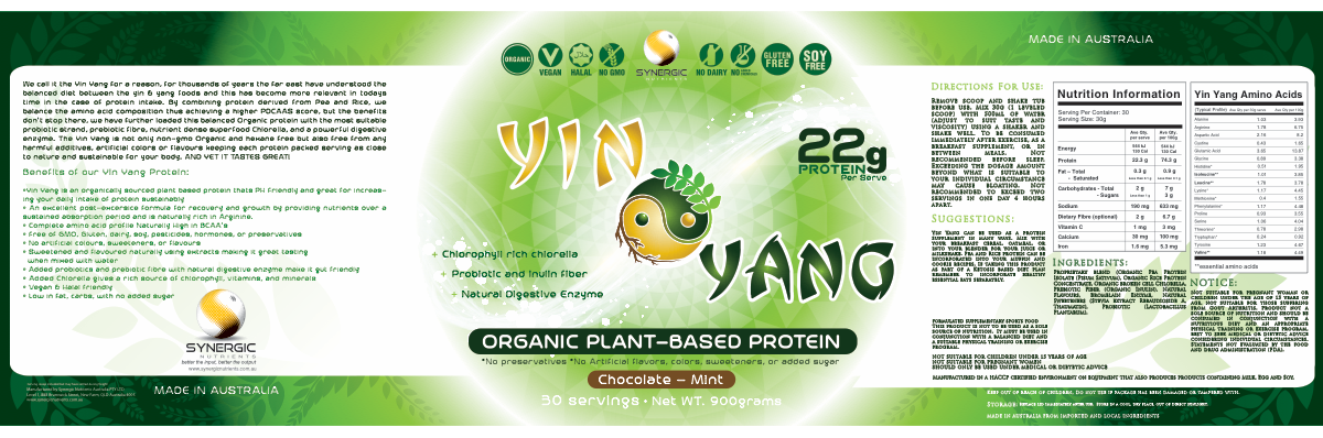 'Yin Yang' Plant based protein powder