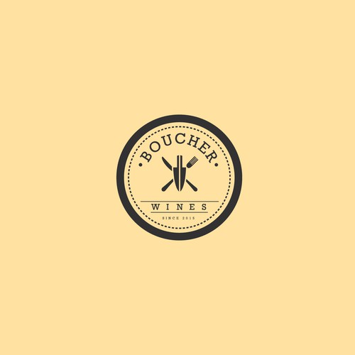 Hipster Logo for a French Inspired Wine and Food Company