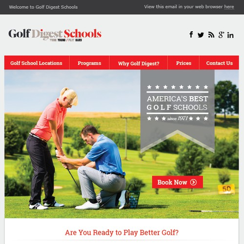 Golf Digest School Email tempalte