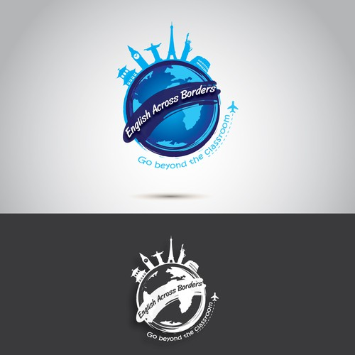 Create a logo for an online English school that goes beyond the traditional four wall classroom