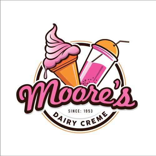 Ice cream and smoothie logo design