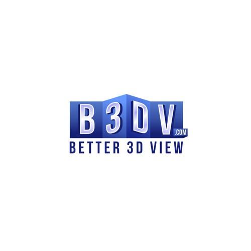 Bold and Blue 3d logo for B3DV.com