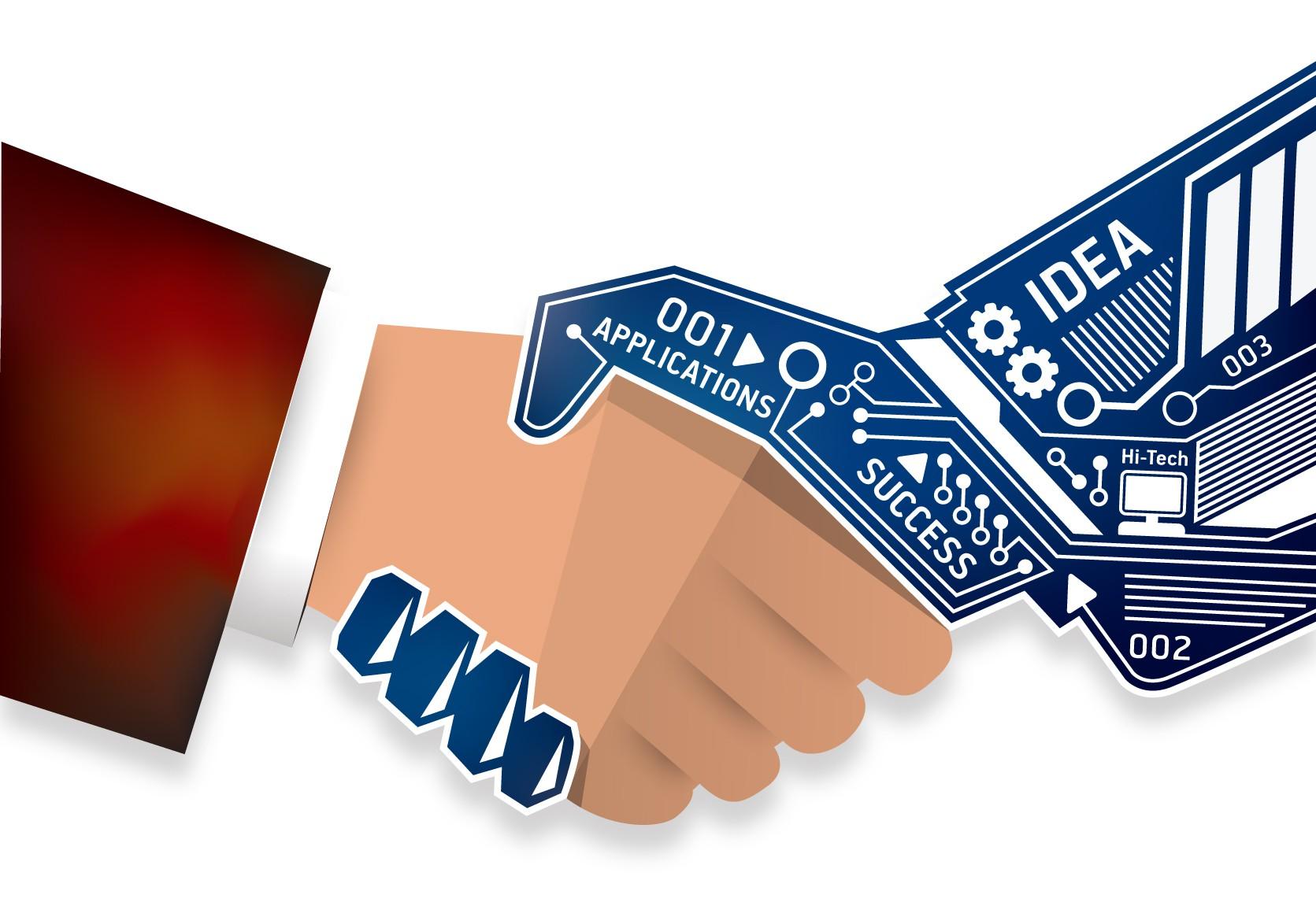 Create a Hi-Tech Handshake front-cover illustration